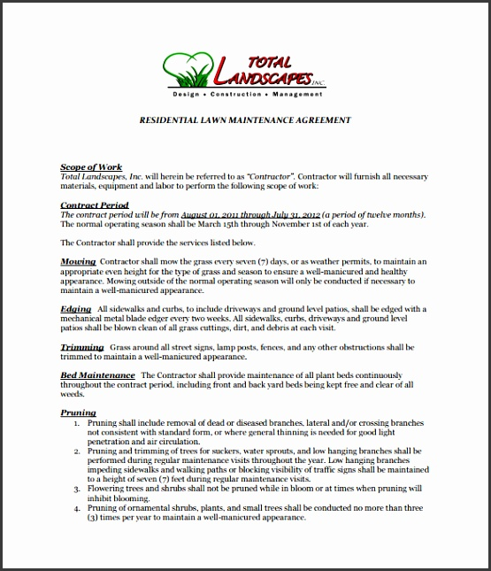 Lawn Service Contract PDF Format Download  Agreement Template Free