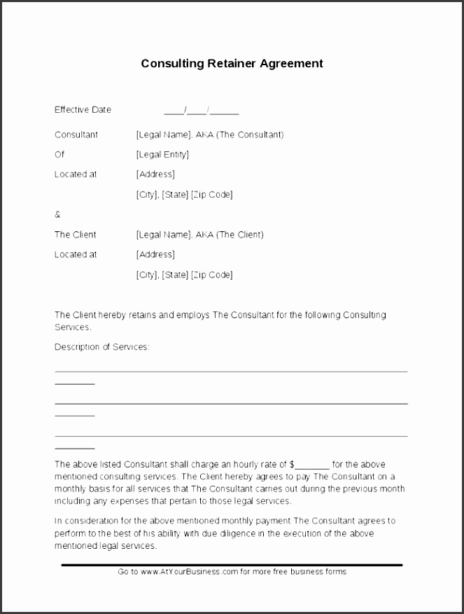 Sample Consulting Retainer Agreement Template 1 Simple Consultancy Agreement Template Free Unique Doc Xls Letter Download