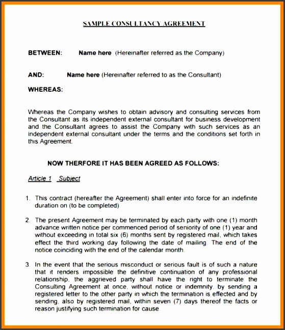 Consulting Agreement Form Adams Consulting Agreement For Website business development agreement template