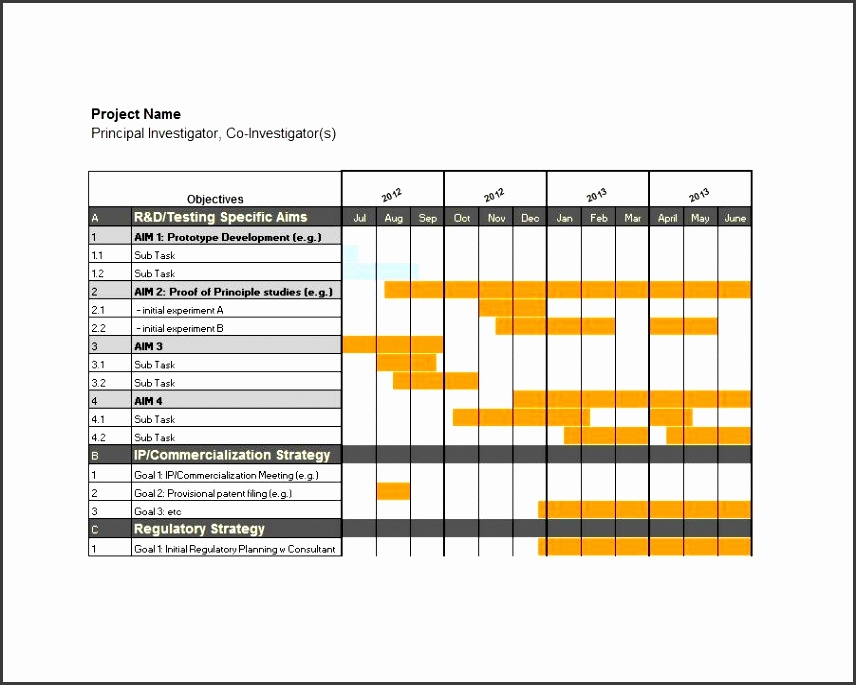 Printable Grantt Chart Template 03