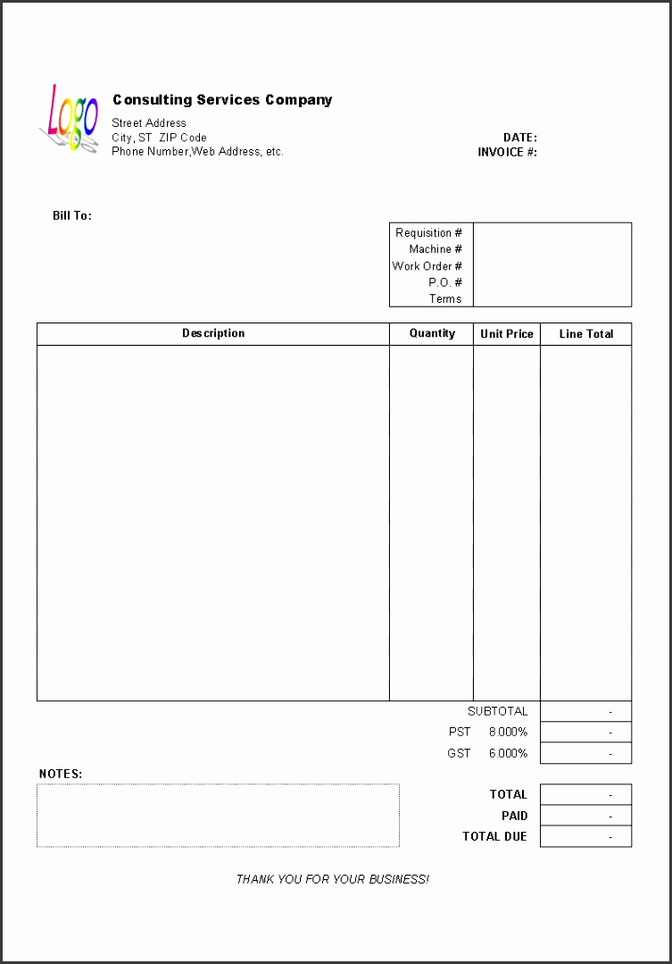 Consulting Invoice Template Printed version to enlarge