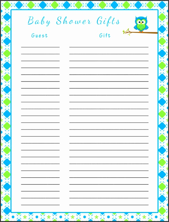 baby shower gift list printable baby