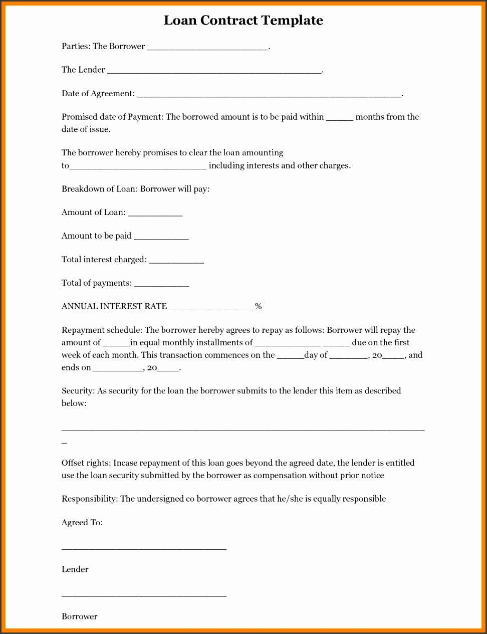 Simple Loan Agreement Form Free Printable Gift Voucher Template Doc Sample Word Document South Africa Format