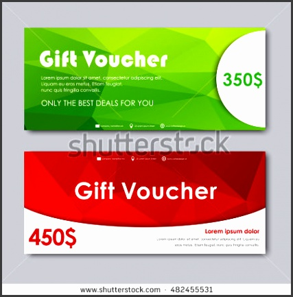 Set of t vouchers Templates with red and green polygonal background Vector illustration