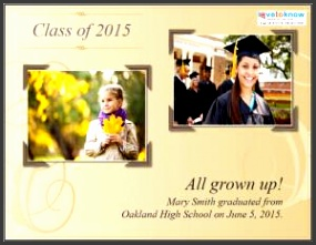Now and Then graduation announcement
