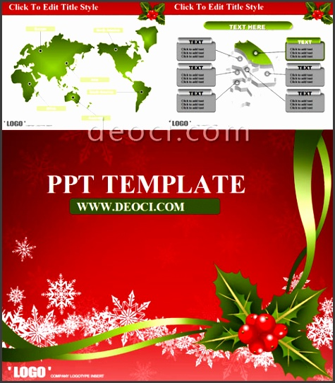 Red theme Christmas greeting cards ppt the slide template free