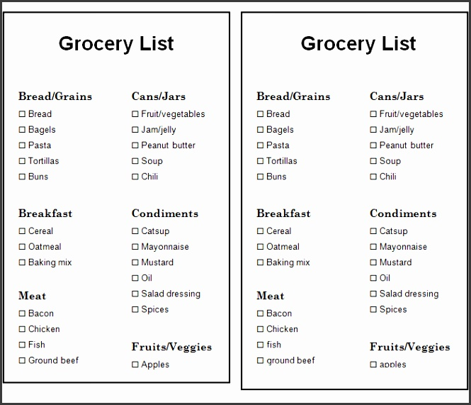 Free Basic Grocery List Template in PDF & Word Format