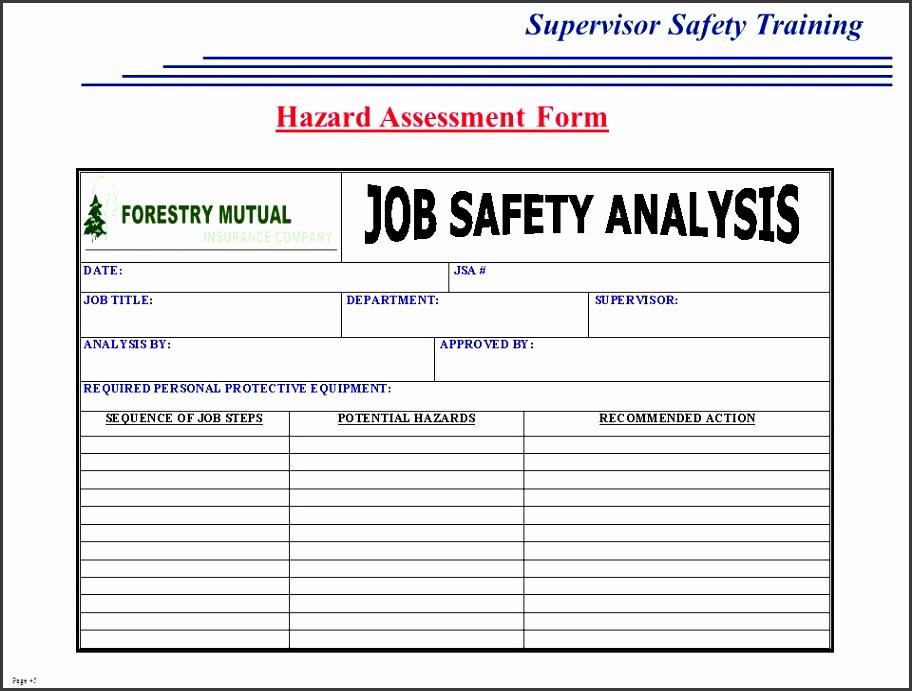45 Hazard Assessment Form