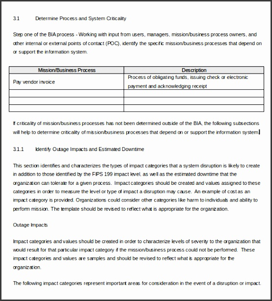 Business Impact Analysis Template Word Doc Download