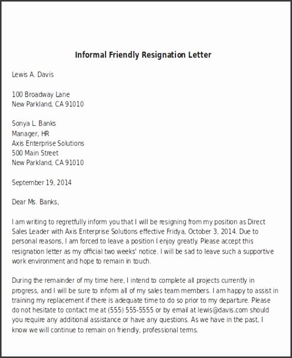 Informal Friendly Resignation Letter