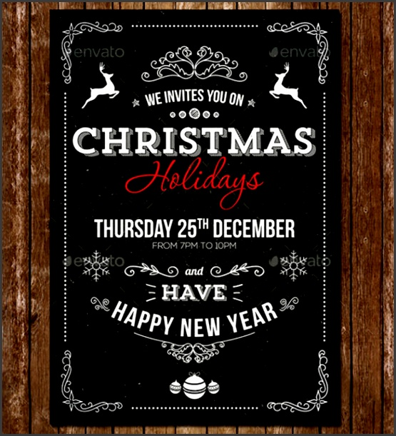 Vintage Christmas Formal Invitation PSD Template