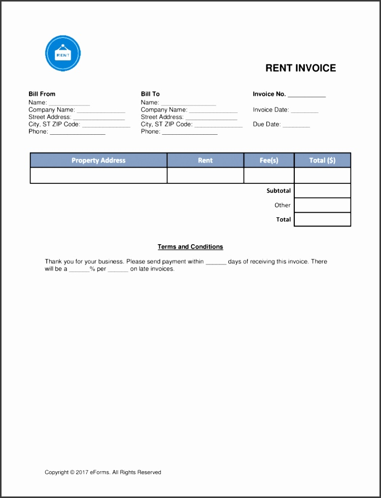 Free Rental Monthly Rent Invoice Template Word PDF
