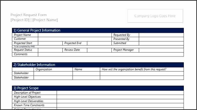 Project Request Form Template for Microsoft Word 2013