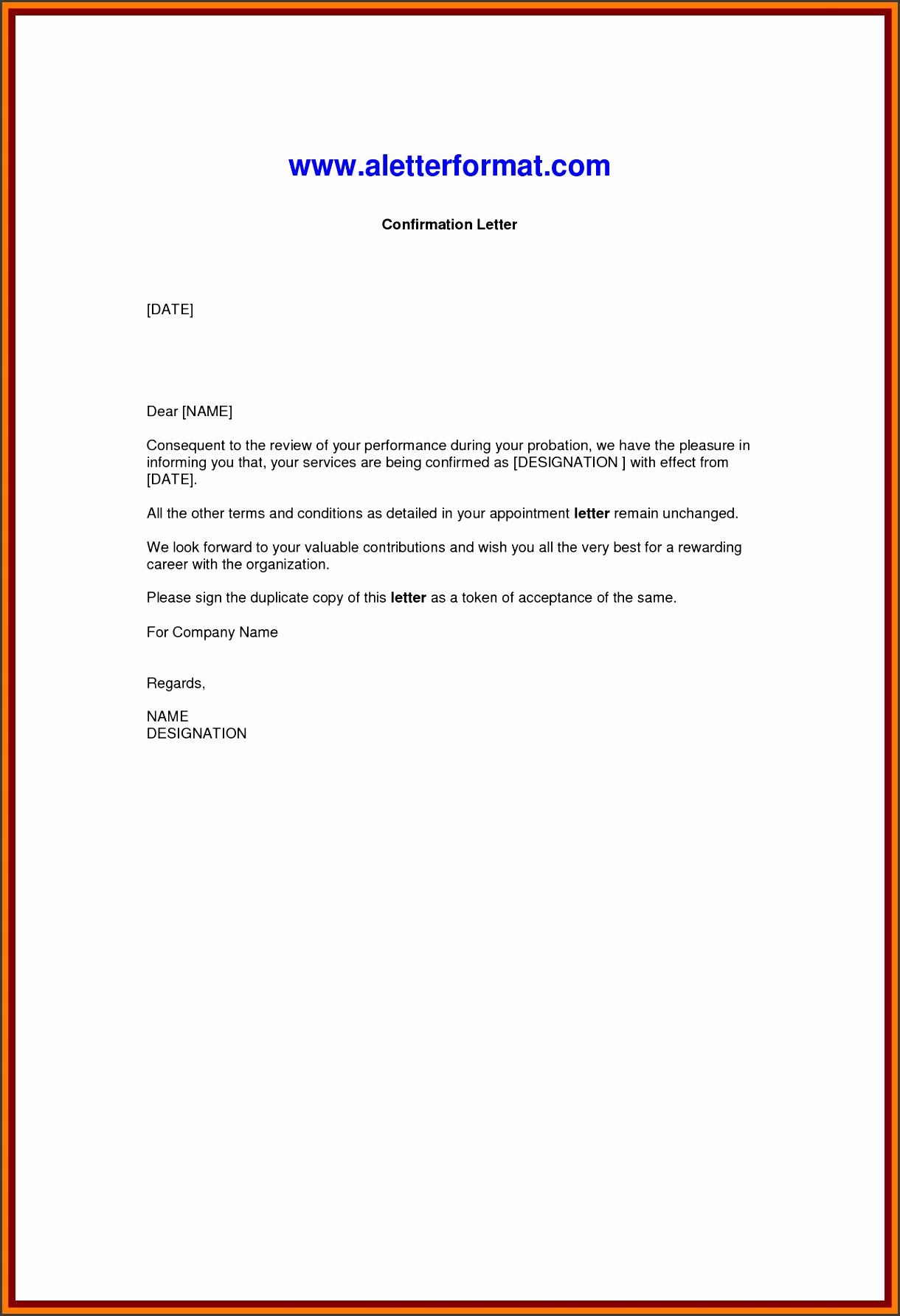 job confirmation letter format confirmation letter sample pdf