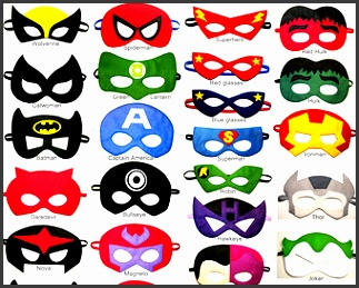 4 felt Superhero Masks party pack for kids YOU CHOOSE STYLES Dress Up play