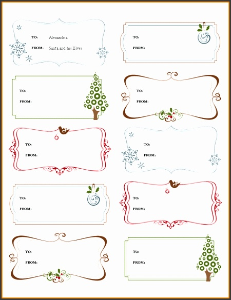 Word Label Templates Christmas Gift Labels Template For Microsoft Word 2013 PNG