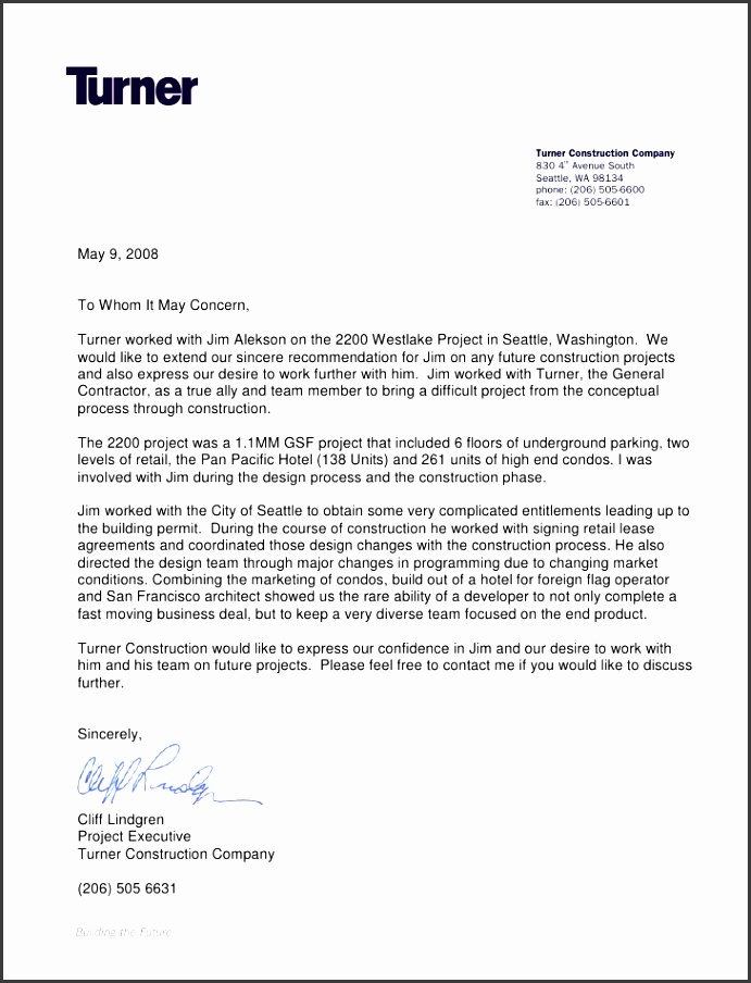 Turner Construction Letter Re mendation Turner Construction pany