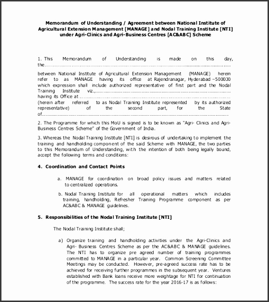 agreement of understanding template memorandum of understanding templates 30 free sample example ideas