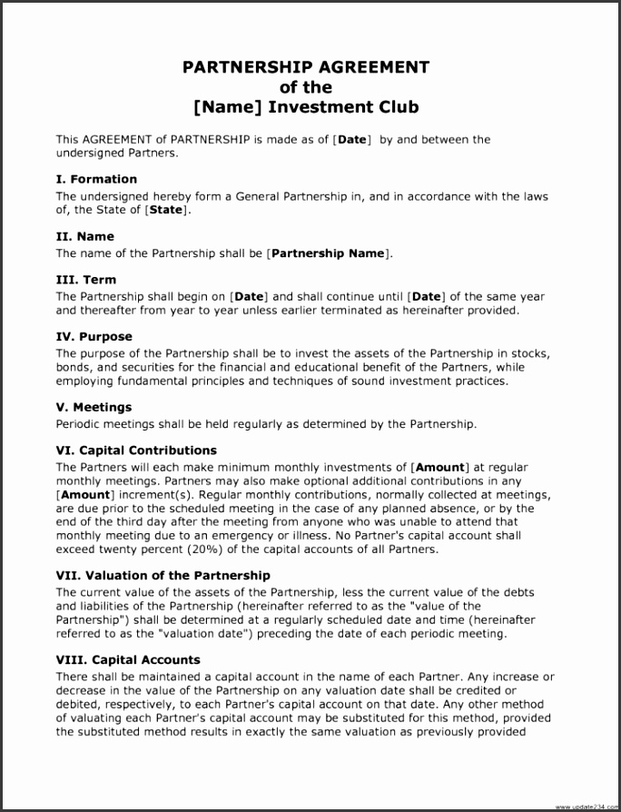 investment club operating agreement