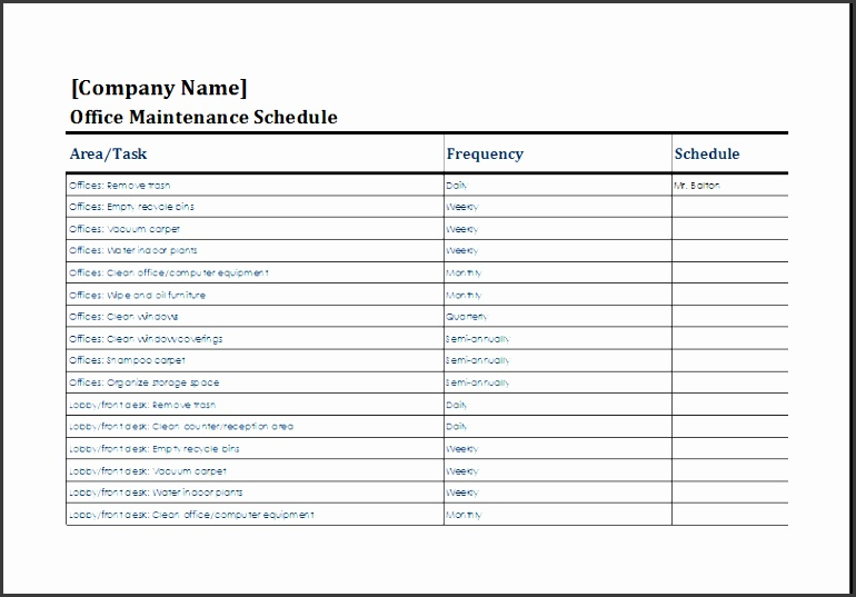 office maintenance schedule template