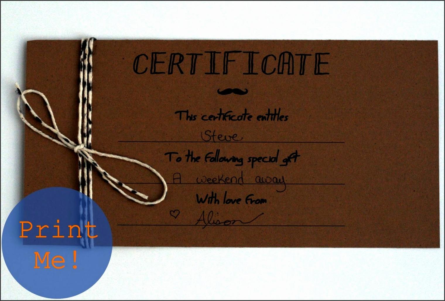Printable Gift Certificates for Men