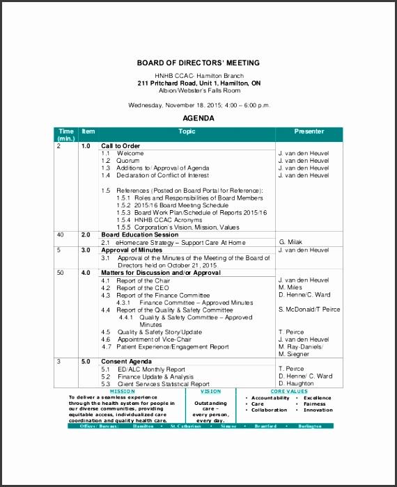 Sample Board Directors Meeting Agenda Template for munication