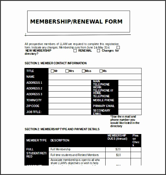 Printable Club Membership Application Template Free Download