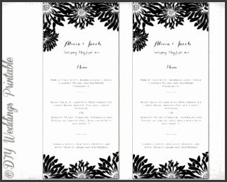 "Printable Wedding menu template Black & white DIY wedding menu ""Flower Burst"" Gerber Daisy"