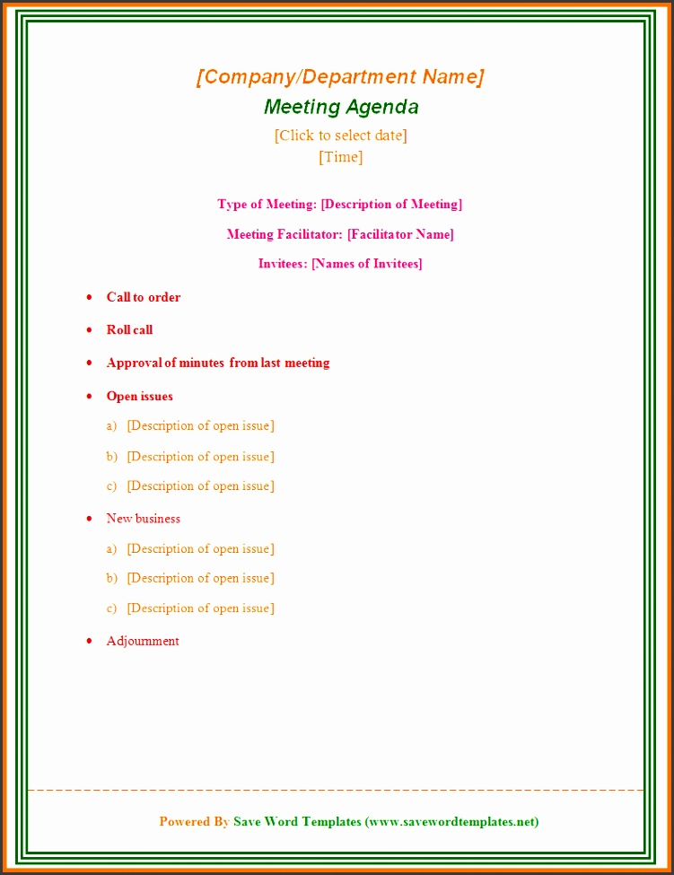 Microsoft Word Templates word agenda template