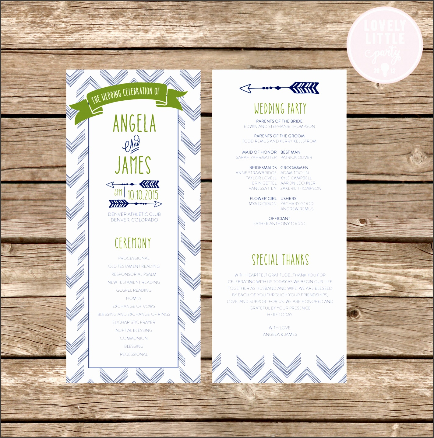 Arrow Modern Wedding Program DIY Printable Lovely Little Party You Choose Color