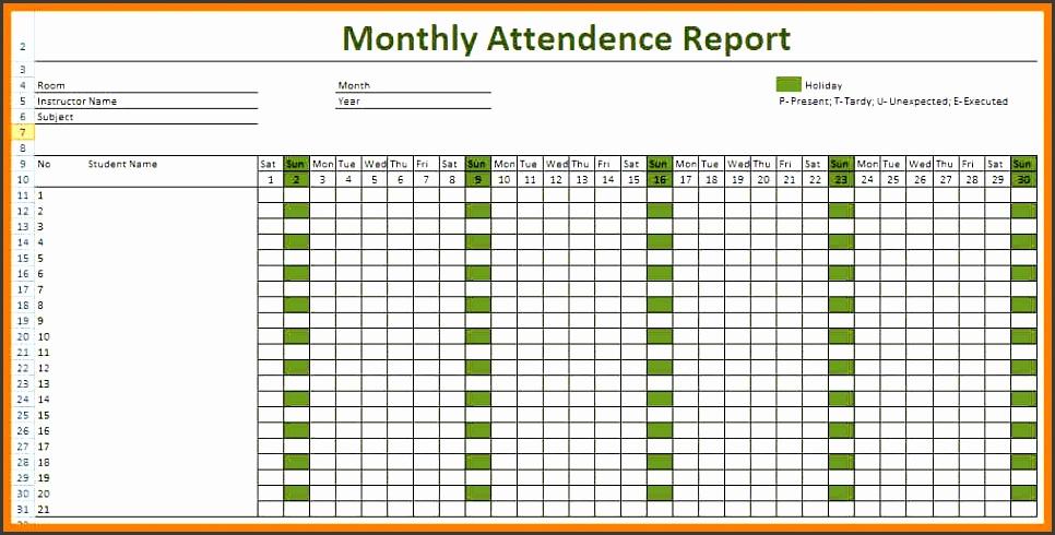 7 Monthly Attendance Sheet Template Sampletemplatess