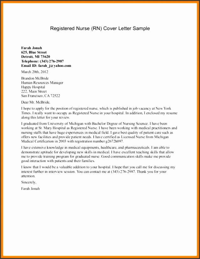 9 nursing cover letter template