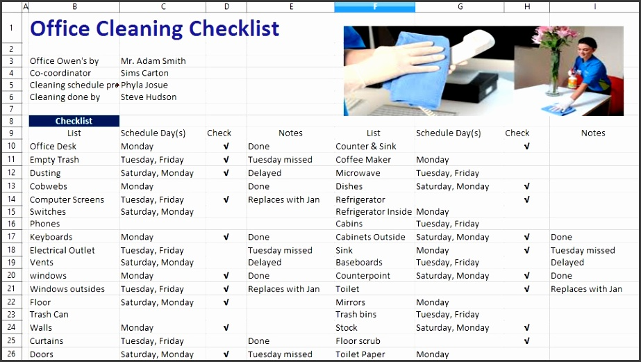 fice Cleaning List Template 28 fice