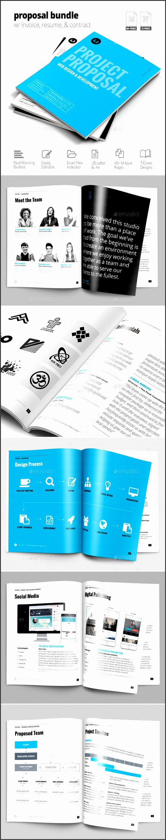 Business Proposal Template w Resume & Invoice 60 Pages Proposals & Invoices Stationery