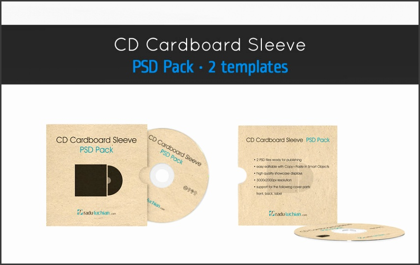 CD cardboard envelope template by raduluchian
