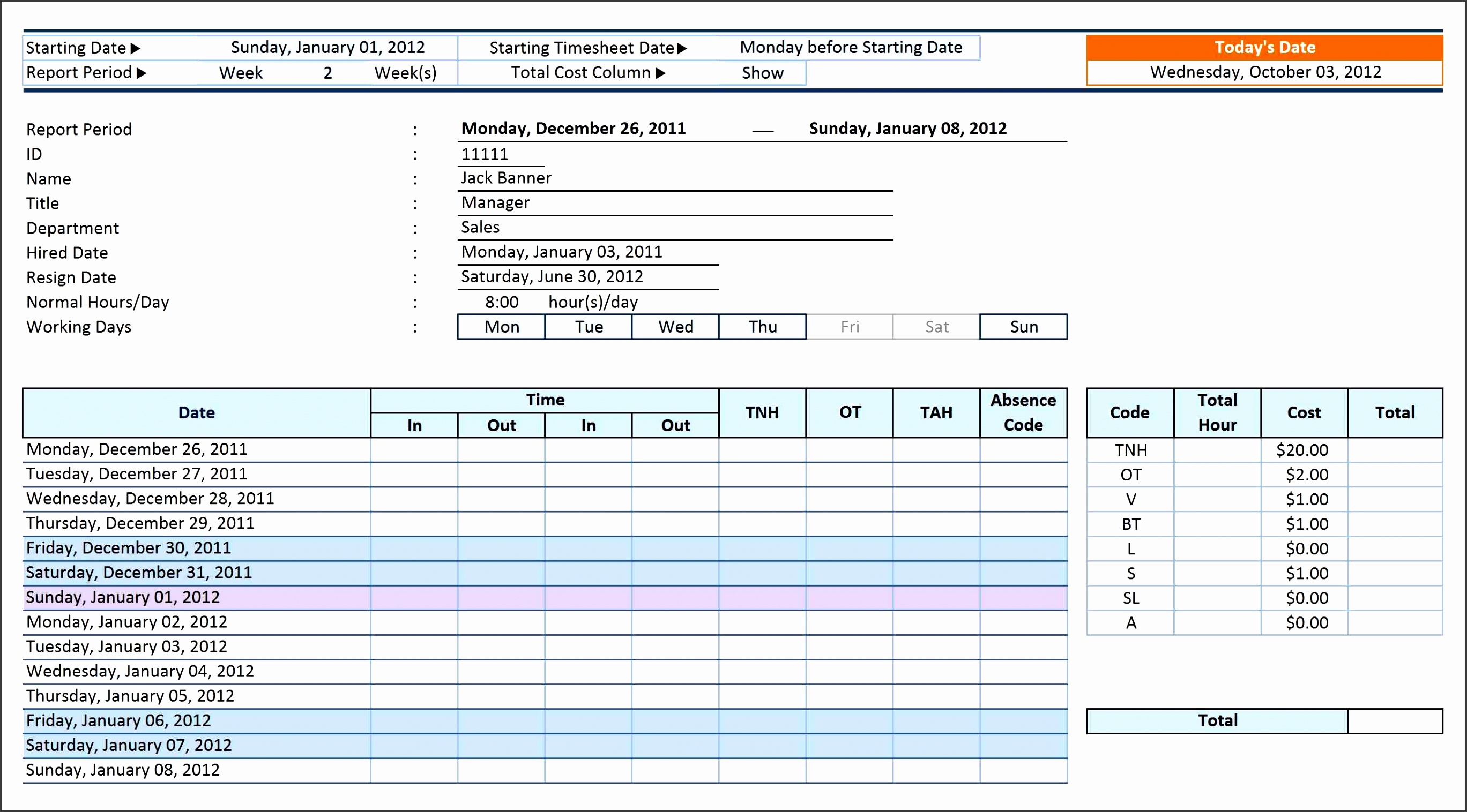5 payroll timesheet template