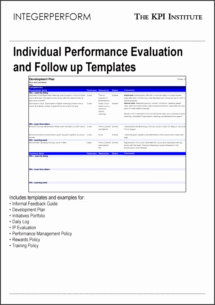 Performance Plan Template Gallery  Template Design Ideas