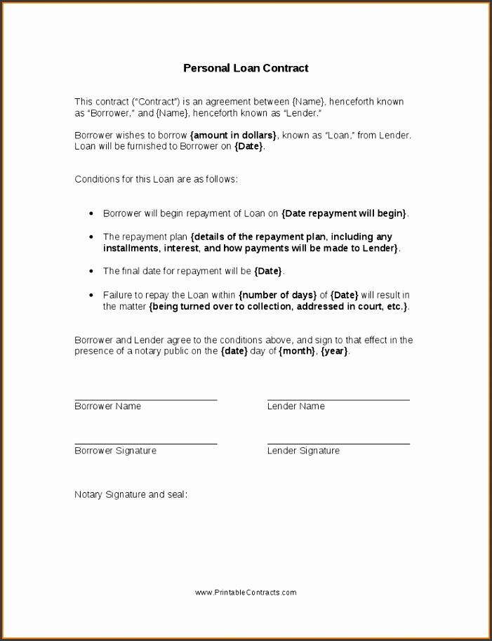 personal loan contract templatersonal loan contract 1