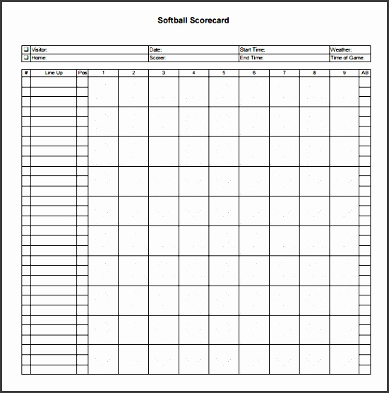 Printable Baseball Scorecard Template  Sampletemplatess