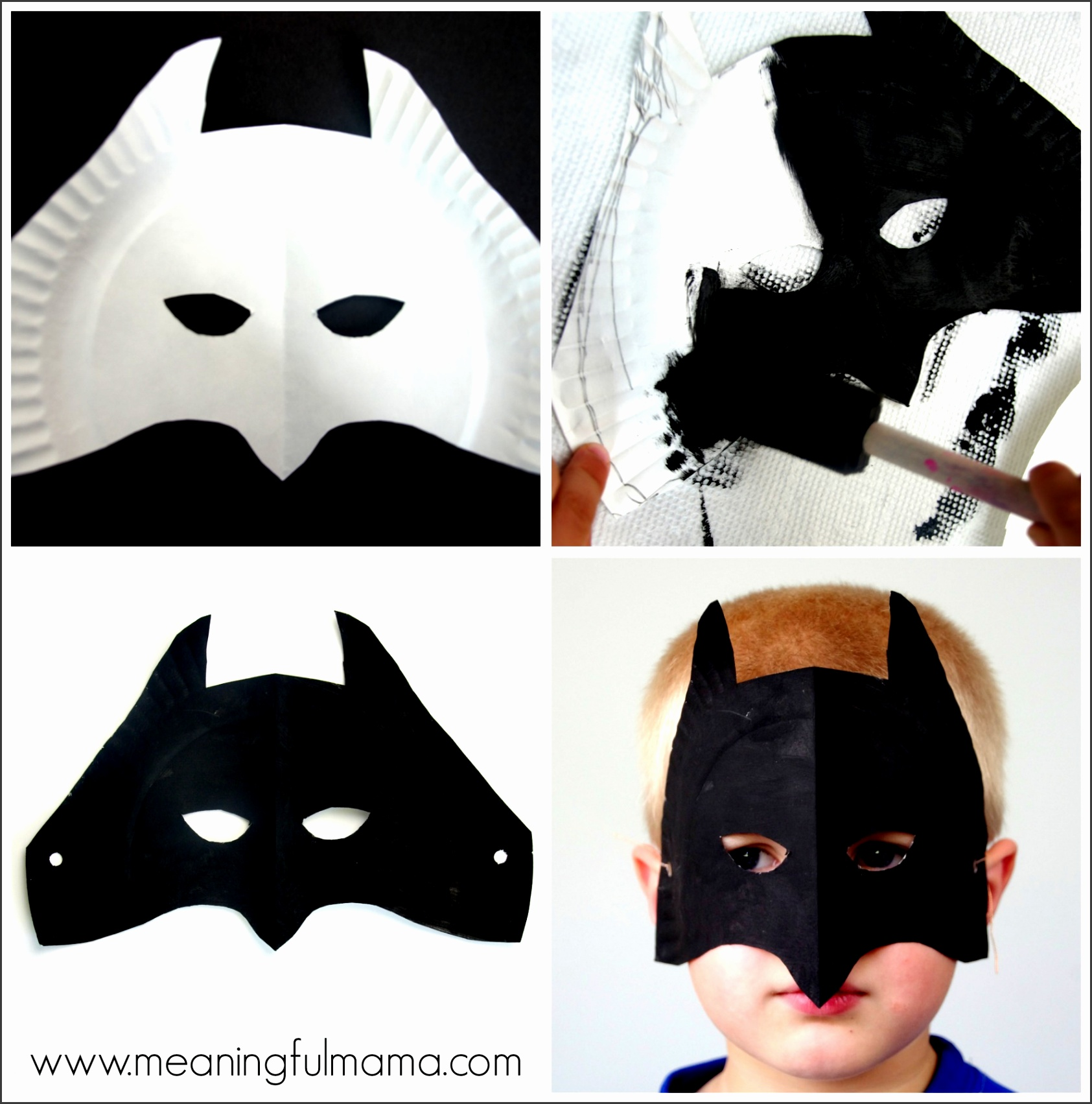 Batman Paper Plate Mask Tutorial