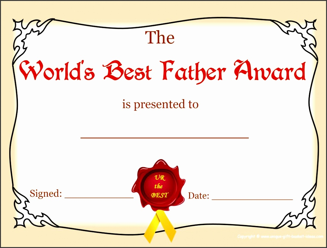 Printable World s Best Father Award
