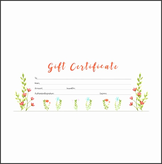 Watercolor Gift Certificate Download Premade Gift Certificate Template Printable Blank Gift Certificate