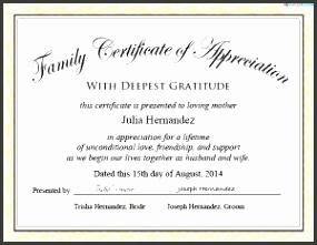 family certificate of appreciation