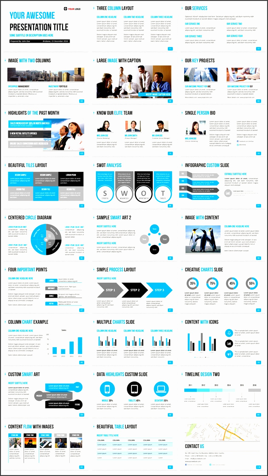 Business PowerPoint Template blue Slide thumbnails