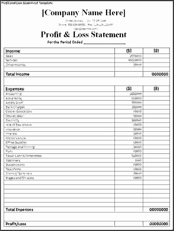 7 simple profit and loss template