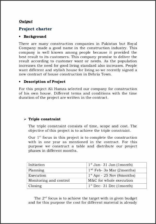 Project charter template for building a house