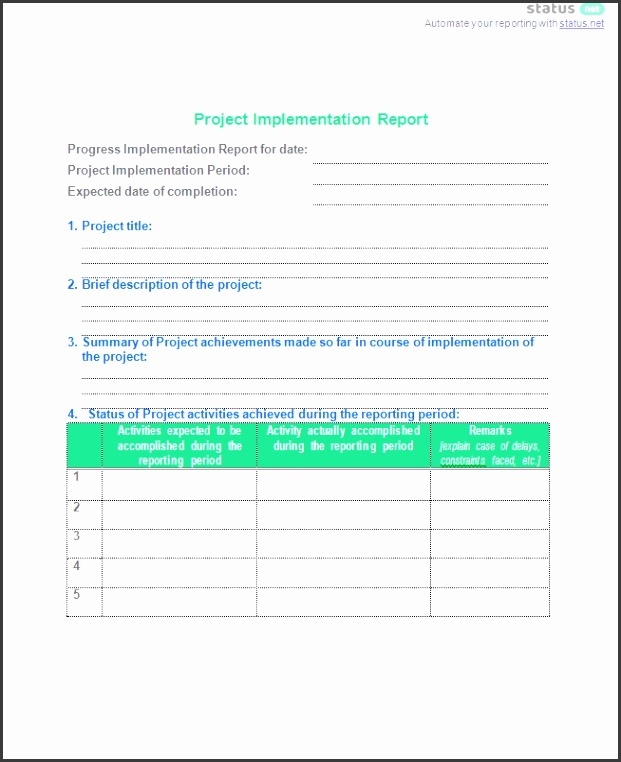 Project Implementation Report Template pletion Report Project