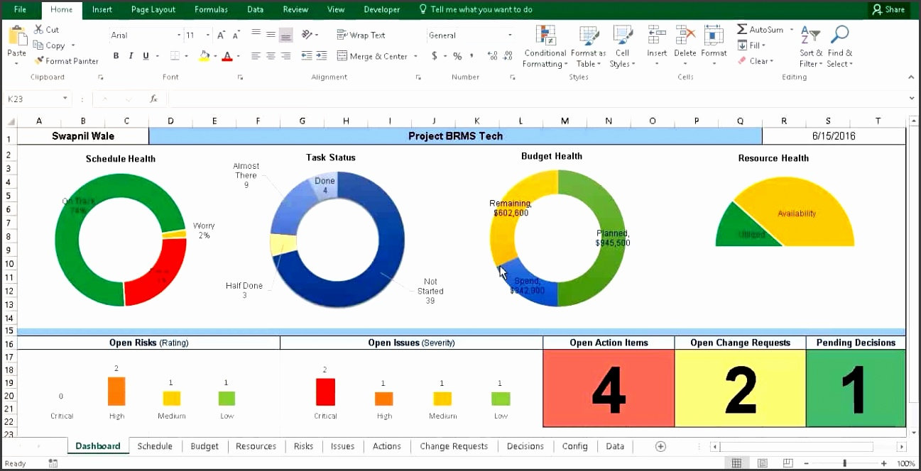 Free Project Management Dashboard Template Excel And Project Tracking Template Excel Free Download