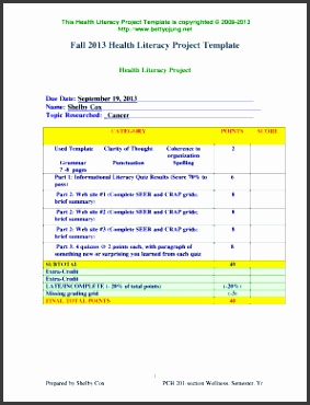 health diary template Health Literacy Project Due Date September 19 2013 Name