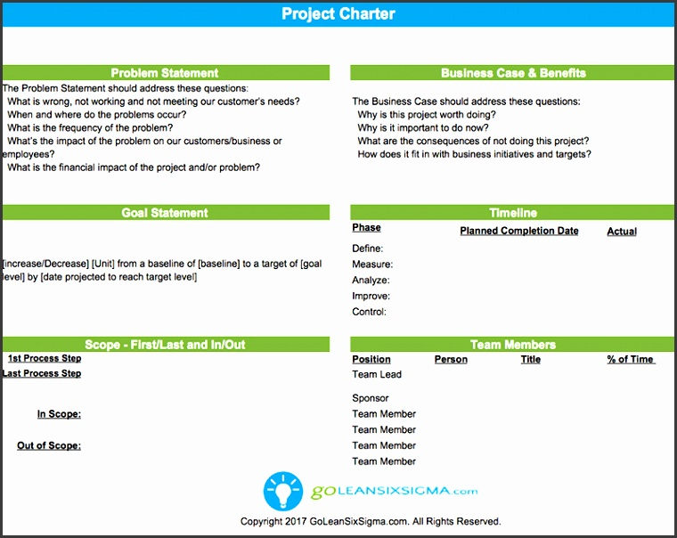 Project Charter GoLeanSixSigma